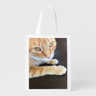 Orange cat closeup reusable grocery bag