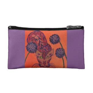 orange cat cosmetic bag