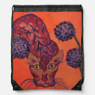 orange cat drawstring backpack