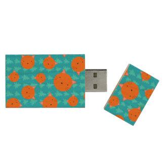 Orange cat face blue christmas trees wood USB 2.0 flash drive