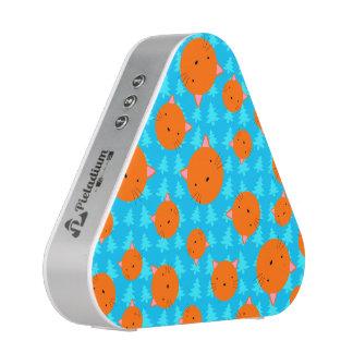 Orange cat face blue christmas trees speaker