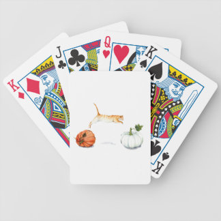 Orange Cat Jumping Between Pumpkins Bicycle Playing Cards