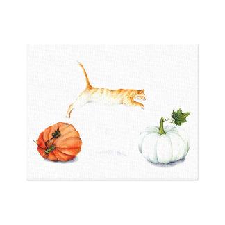Orange Cat Jumping Between Pumpkins Canvas Print