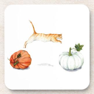 Orange Cat Jumping Between Pumpkins Coaster