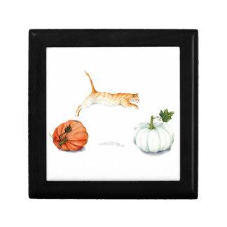 Orange Cat Jumping Between Pumpkins Gift Box