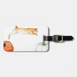 Orange Cat Jumping Between Pumpkins Luggage Tag