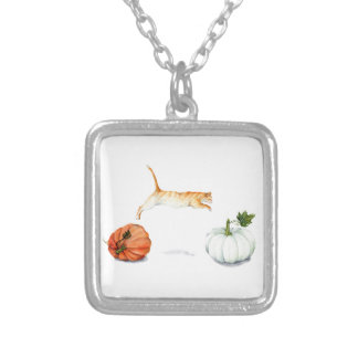 Orange Cat Jumping Between Pumpkins Silver Plated Necklace
