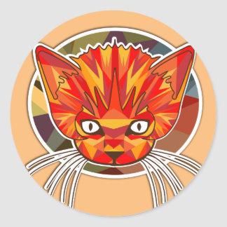 ORANGE CAT LOGO ROUND STICKER