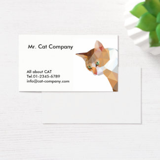 Orange cat low polygon, brown face with green eyes business card