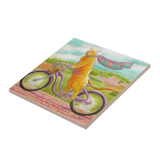 Orange Cat on a Purple Bicycle Tile