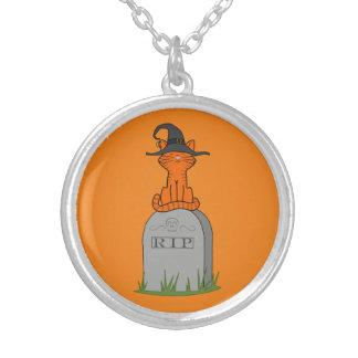 Orange Cat on RIP Grave Stone Round Pendant Necklace
