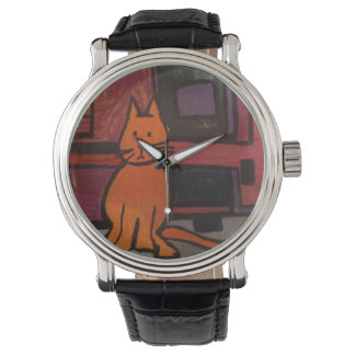 Orange Cat Painting Watch by Willowcatdesigns