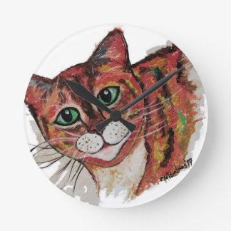 Orange Cat Round Clock