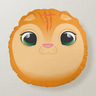 Orange Cat Round Pillow