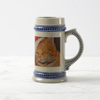 Orange cat - Santa claus cat - merry christmas Beer Stein