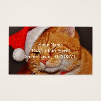 Orange cat - Santa claus cat - merry christmas Business Card