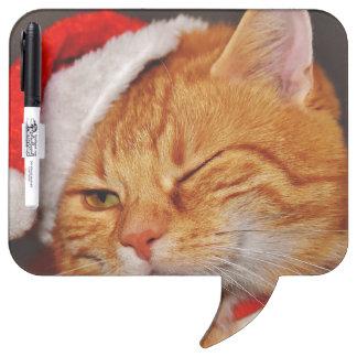 Orange cat - Santa claus cat - merry christmas Dry Erase Board