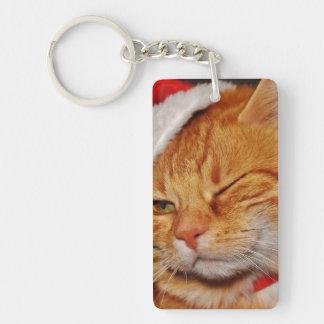 Orange cat - Santa claus cat - merry christmas Key Ring