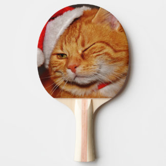 Orange cat - Santa claus cat - merry christmas Ping Pong Paddle