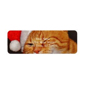 Orange cat - Santa claus cat - merry christmas Return Address Label