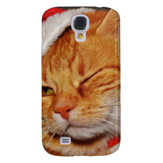 Orange cat - Santa claus cat - merry christmas Samsung Galaxy S4 Covers