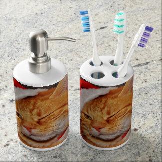 Orange cat - Santa claus cat - merry christmas Soap Dispenser And Toothbrush Holder