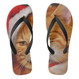 Orange cat - Santa claus cat - merry christmas Thongs