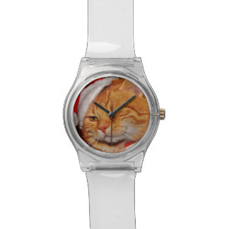 Orange cat - Santa claus cat - merry christmas Watch