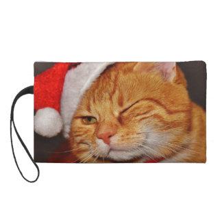 Orange cat - Santa claus cat - merry christmas Wristlet