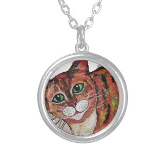 Orange Cat Silver Plated Necklace