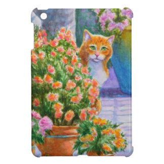 Orange Cat with Flower Pots Case For The iPad Mini