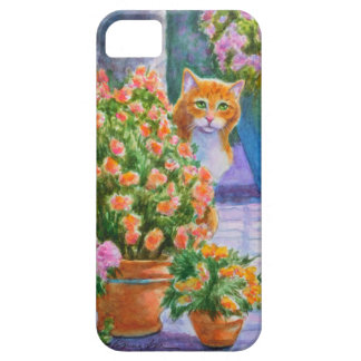 Orange Cat with Flower Pots Case For The iPhone 5