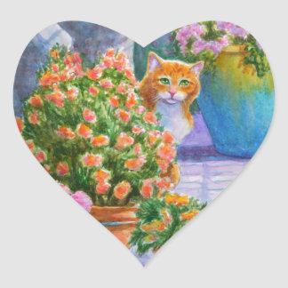Orange Cat with Flower Pots Heart Sticker