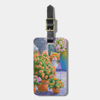 Orange Cat with Flower Pots Luggage Tag