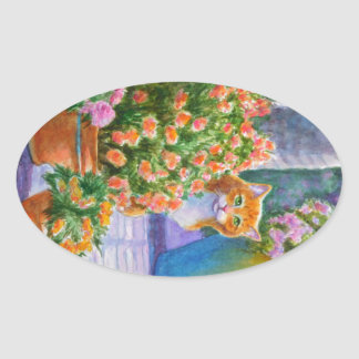 Orange Cat with Flower Pots Oval Sticker