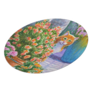 Orange Cat with Flower Pots Plate