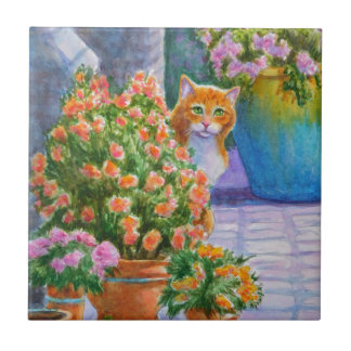 Orange Cat with Flower Pots Small Square Tile