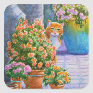 Orange Cat with Flower Pots Square Sticker