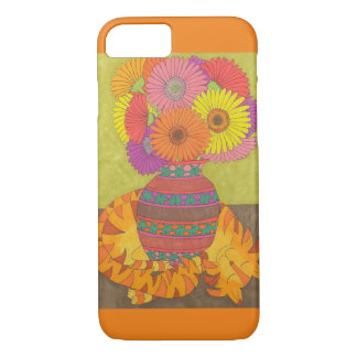 Orange Cat with Vase of Gerbera Daisies iPhone 7 Case