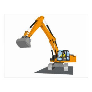 orange chain excavator postcard