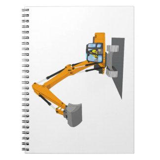 orange chain excavator spiral notebooks