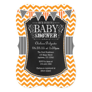 Orange Chalkboard Chevron Baby Shower Invite