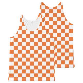 Orange Checkerboard All-Over Print Singlet