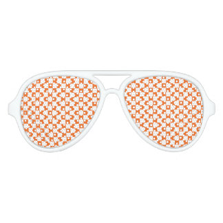 Orange Checkerboard Aviator Sunglasses
