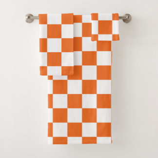 Orange Checkerboard Bath Towel Set
