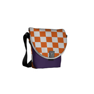Orange Checkerboard Commuter Bag