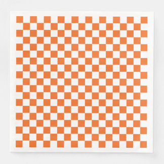 Orange Checkerboard Disposable Serviette