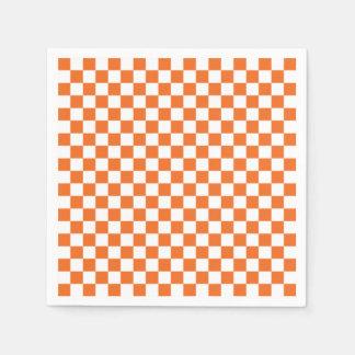 Orange Checkerboard Disposable Serviettes