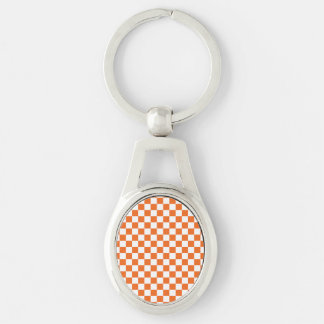 Orange Checkerboard Key Ring