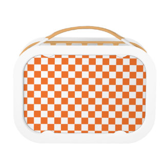 Orange Checkerboard Lunch Box